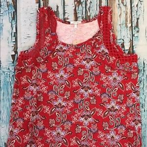 Maurices Women's Red Lattice Ruffled SS Blouse